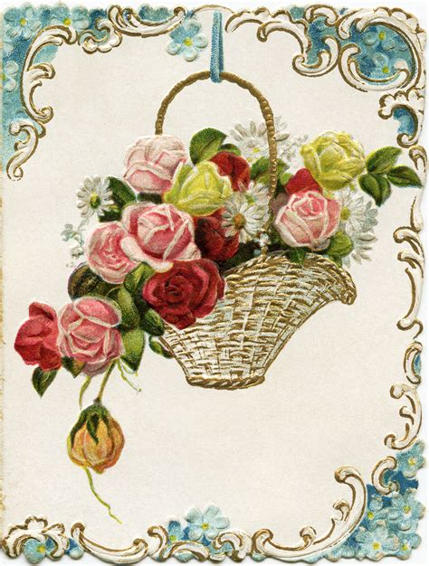 new year vintage greeting cards basket of flowers new year greeting card design shop
