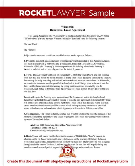 wisconsin lease agreement wi rental contract form