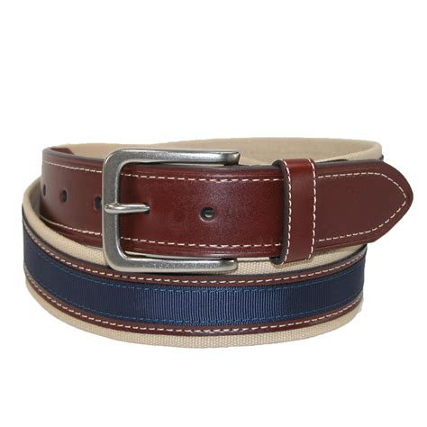 mens canvas with leather inlay casual belt by