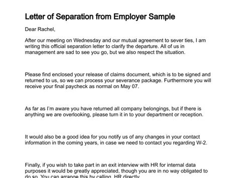 Release Letter From Previous Employer Letter Of Separation
