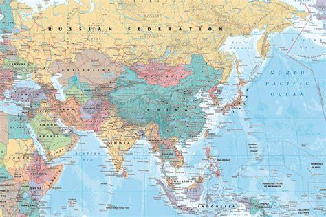 asien map poster affisch politisk karta 246 ver asien och