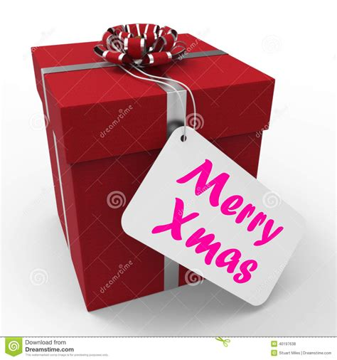 merry xmas gift means happy christmas greetings stock