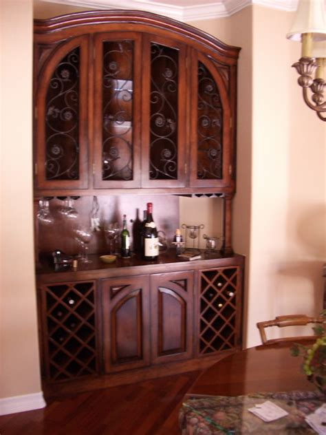 Dining Room Wine Cabinet Built In Wine Cabinet Mediterranean Dining Room Los Angeles By Upstairs Downstairs Furniture