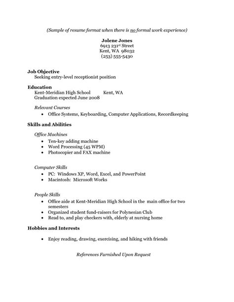 Resume Outline No Experience 17 Best Ideas About Simple Resume Exles On Simple Cv Template Simple Cv Format