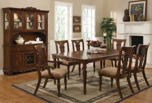 Traditional Dining Room Sets Cherry Brown Finish Transitional Dining Set