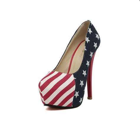 american flag and stripes high heel shoes