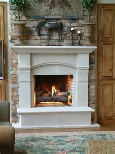 cast surround with stacked fireplaces