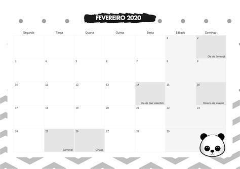 calendario mensal panda fevereiro  fazendo  nossa festa