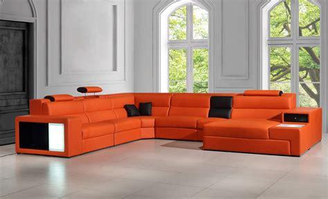 orange leather sofa polaris orange italian leather sectional sofa