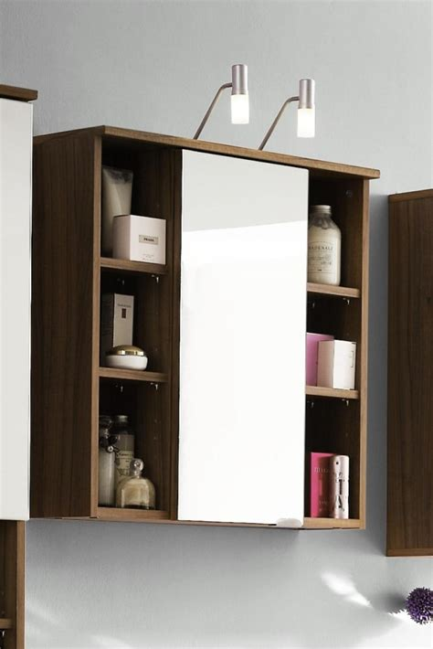 Bathroom Cabinets With Lights Maxine Walnut Mirrored Bathroom Cabinet Bathroom Cabinets With Lights