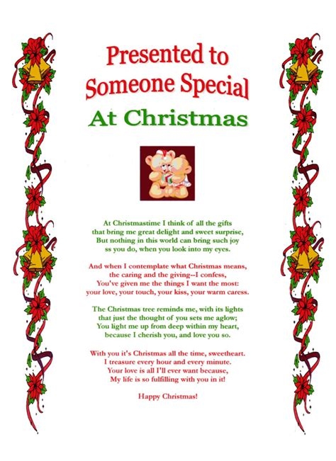 someone special christmas laminated poem gifts