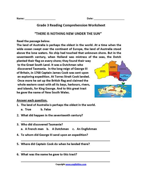 worksheet unseen comprehension for grade 3 yaqutlab free