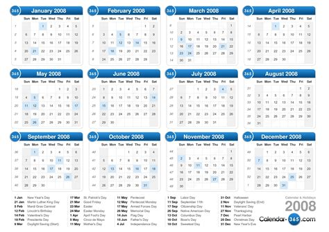 July 2008 Calendar 2008 Calendar