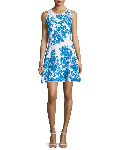 Floral Print Sleeveless Dress lyst milly sleeveless floral print dress in blue