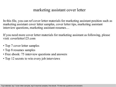 marketing assistant cover letter marketing assistant cover letter