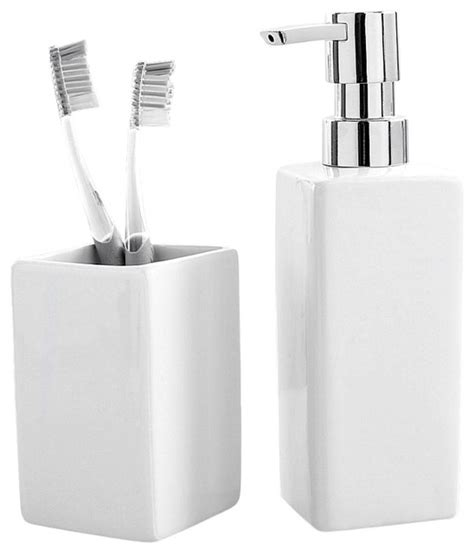 luxury porcelain 2 bathroom set white