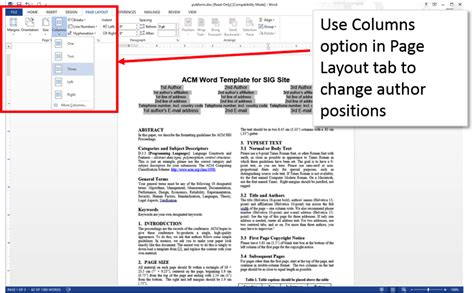 microsoft word two column layout create an accessible acm submission using microsoft word