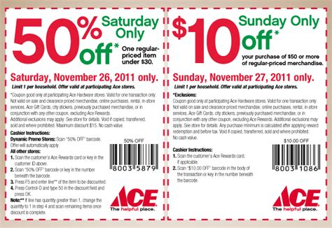 ace hardware discount ace hardware black friday weekend 50 and 10 coupon