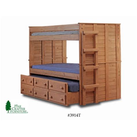 Solid Wood Bunk Bed With Trundle Bunk Beds Solid Wood Bunk Bed W Trundle Unit 3914 Pc Nationalfurnishing