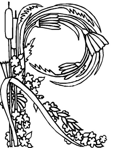 Alphabet Flowers Letter R Coloring Pages Zentangled