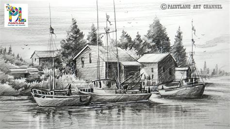 boat drawing for beginners how to draw old sailboat yard landscape with pencil for