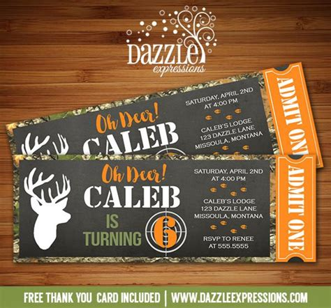 printable hunting birthday invitations printable chalkboard hunting ticket birthday invitation