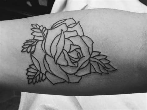 linework tattoo forearm leaves canada forearm bw
