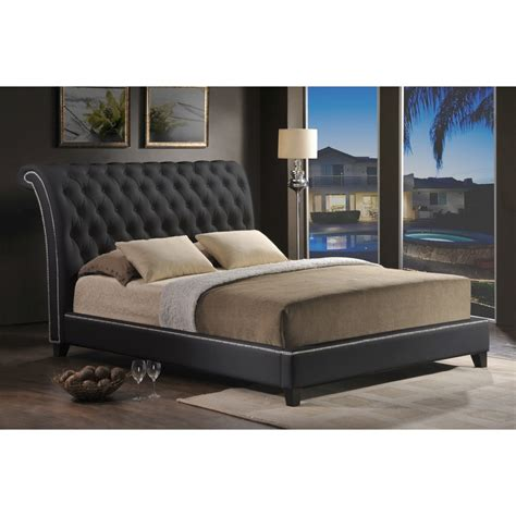 jazmin tufted black modern bed with upholstered headboard