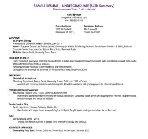 Sample Resume Objectives For Biology Majors by Blank Resume Template For High Students Free
