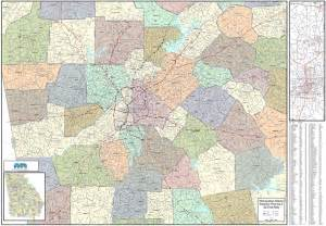 atlanta zip code map atlanta metro wall map large zip codes laminated