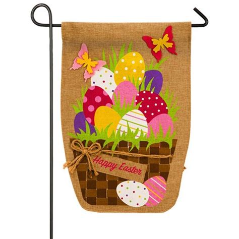 easter garden flag easter egg basket burlap easter garden flag easter flags