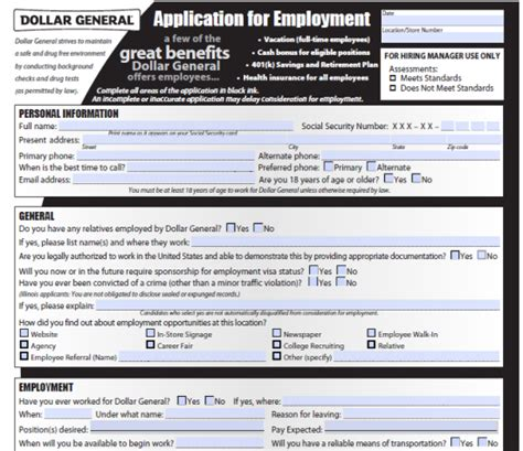search results for dollar general application form