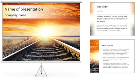 railway themes for powerpoint long train trip powerpoint template backgrounds id