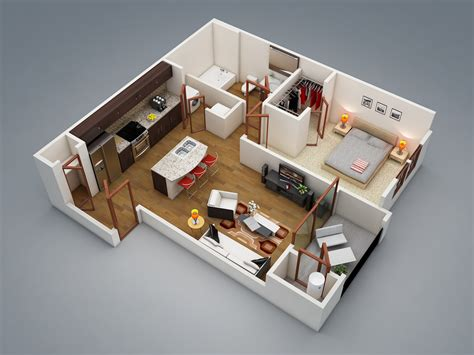 1 Room Floor Plans 3d - 1 bedroom apartment house plans