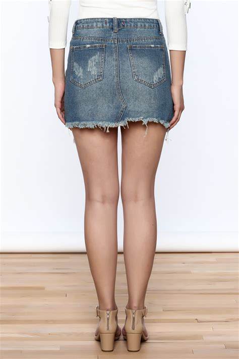 signature 8 distressed denim mini skirt from california by