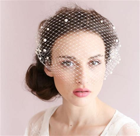 Vintage Bridal Hair Fascinators by Vintage Wedding Bridal White Birdcage Veil Net Pearl