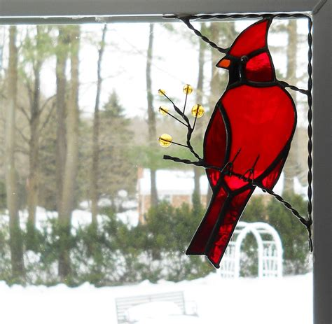 Stained Glass Bird L cardinal stained glass window corner top right corner
