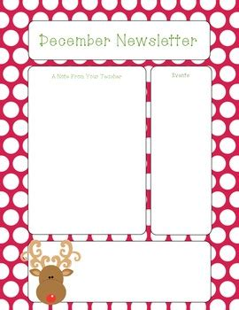 february newsletter template freebie december newsletter by stickers and smiles tpt