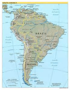 detailed political and relief map of south america south