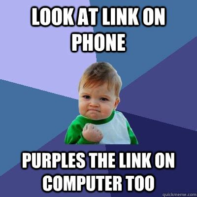 Kid On Computer Meme - look at link on phone purples the link on computer too
