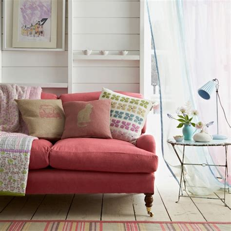 coral couch pastel living room country decorating ideas