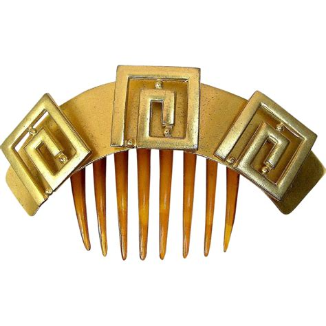 antique hair comb victorian hinged greek key motif hair