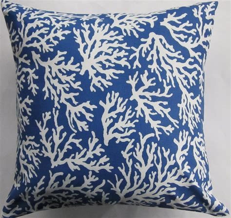 Blue Coral Pillow by Blue Pillow Cover Royal Blue And White Coral Indoor