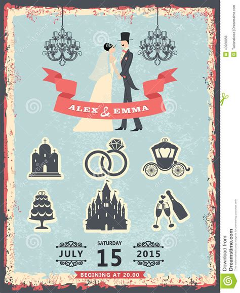 vintage invitation with groom bride and wedding icons
