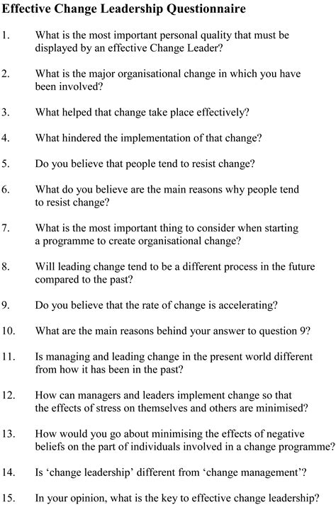 printable leadership style questionnaire effective change leadership questionnaire leadership