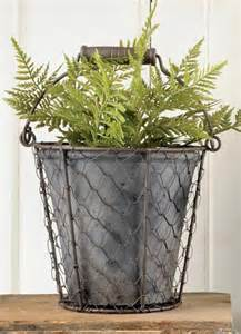 galvanized metal planter wire basket w handle galvanized metal planter