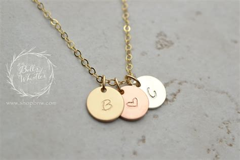 small disk initial necklace personalized necklace circle tag