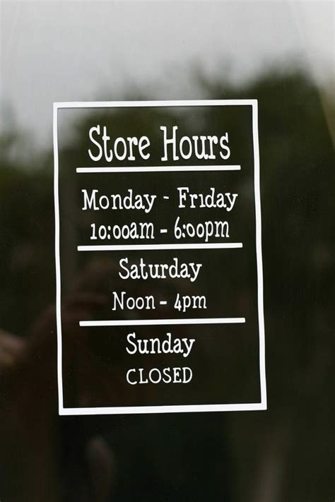 store hours shop hours business hours store sign