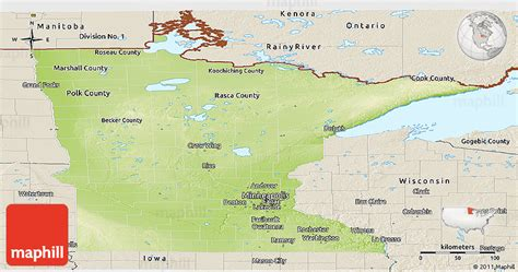physical map of minnesota physical panoramic map of minnesota shaded relief outside