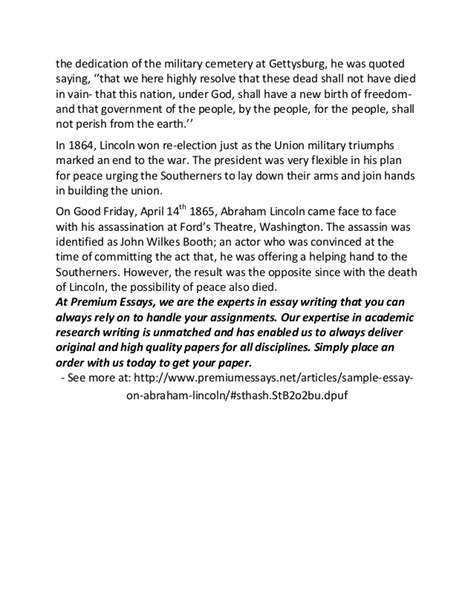Abraham Lincoln Essay by Sle Essay On Abraham Lincoln